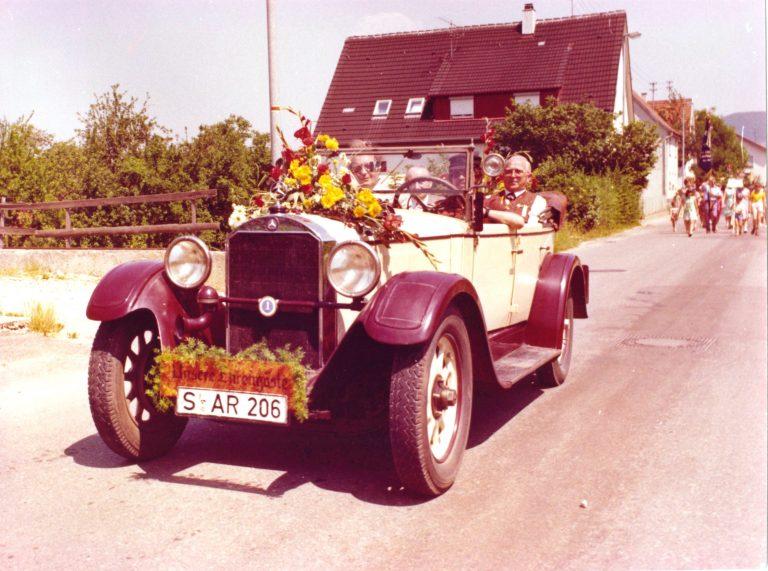 Festumzug 1976 - BM Otto Vogt, Ehrendirigent Rudolf Behrs, Fahrer, Vorstand Hermann Luik