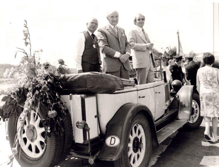 Festumzug 1976 - Vorstand Hermann Luik, Ehrendirigent Rudolf Behrs,  BM Otto Vogt