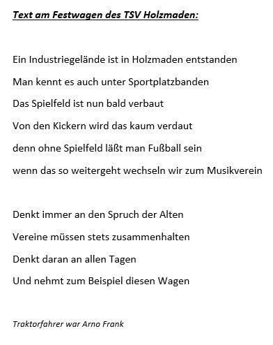Text am Festwagen des TSV